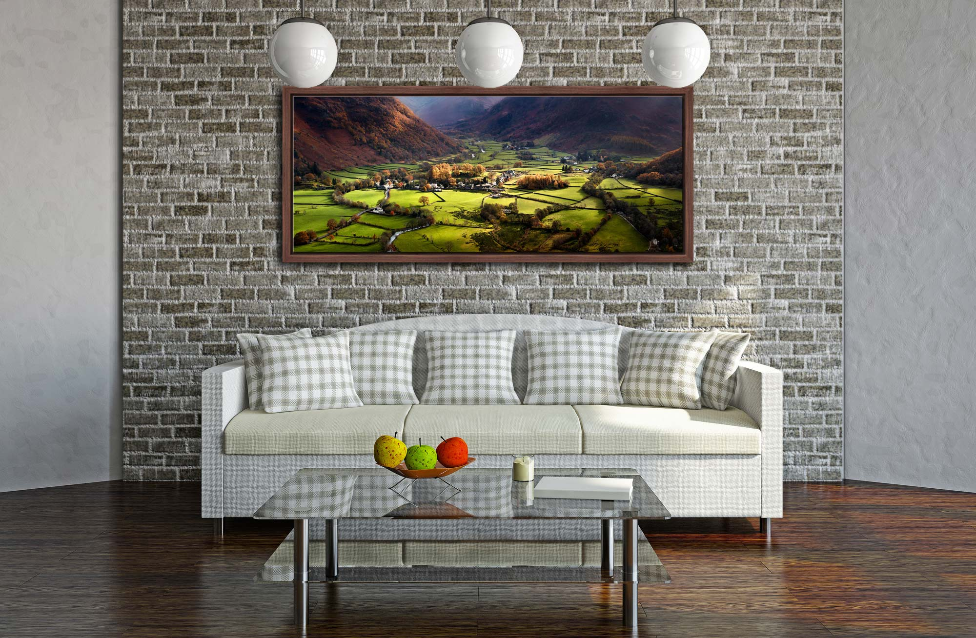Autumn sunshine on the green fields around Rosthwaite in Borrowdalea - Walnut floater frame with acrylic glazing on Wall