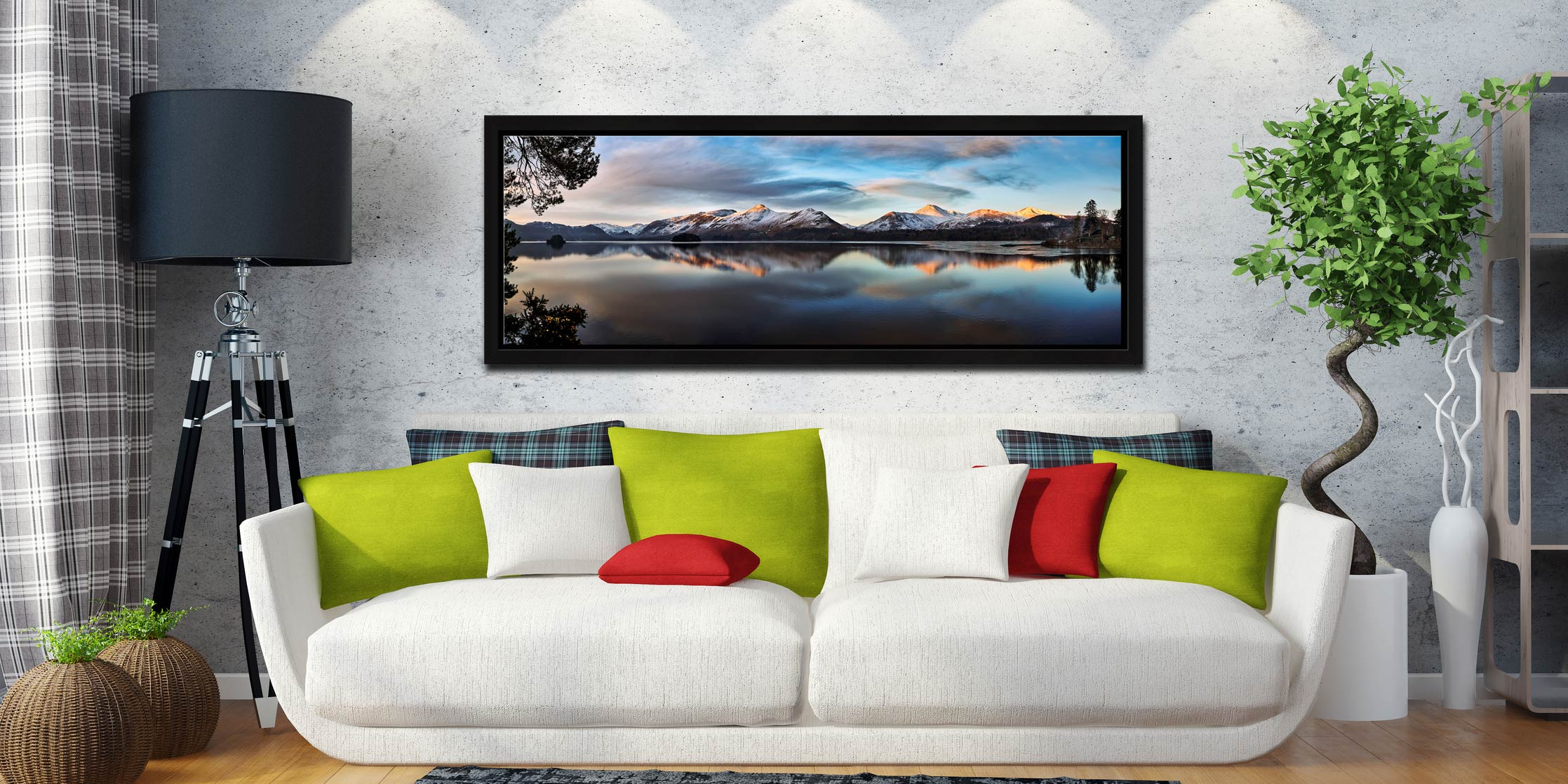 View from Friars Crag as the dawn light just catches the summits of Cat Bells on the West side of Derwent Water. View from Friars Crag, Keswick - Black oak floater frame with acrylic glazing on Wall