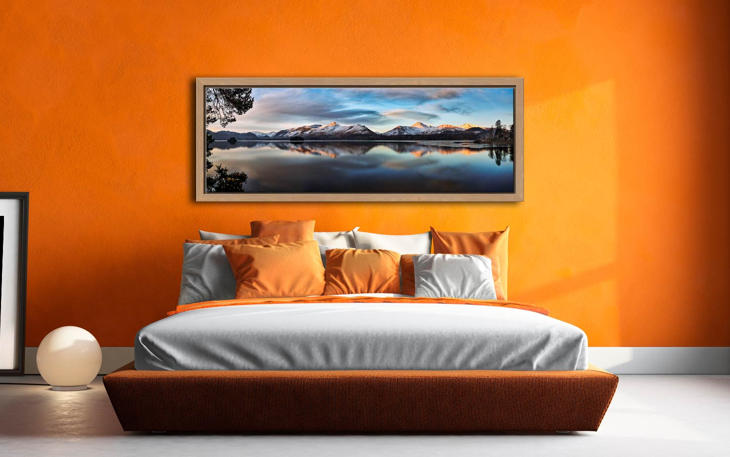 View from Friars Crag as the dawn light just catches the summits of Cat Bells on the West side of Derwent Water. View from Friars Crag, Keswick - Oak floater frame with acrylic glazing on Wall