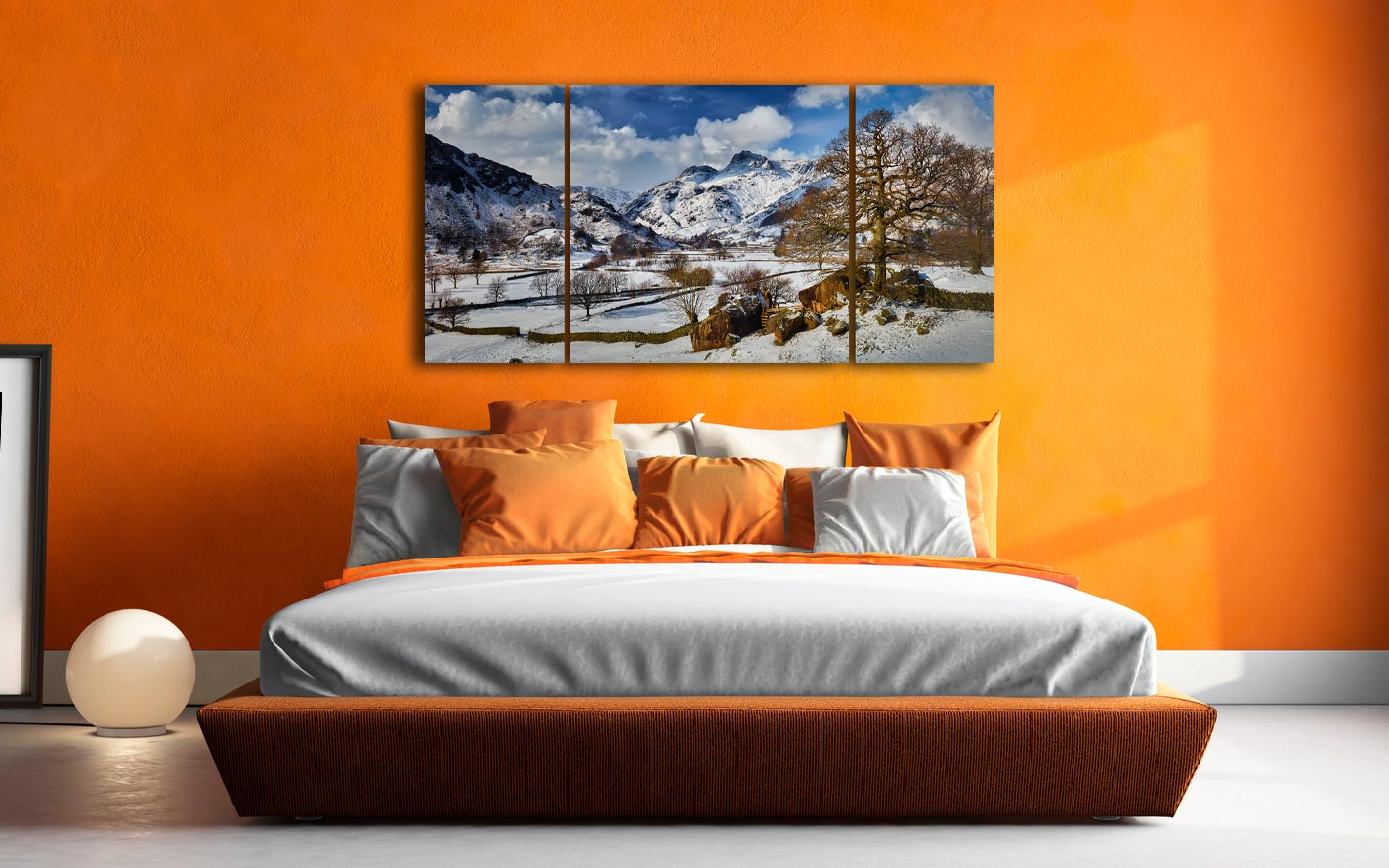 The Langdale Boulders in Winter - 3 Panel Wide Centre Canvas on Wall