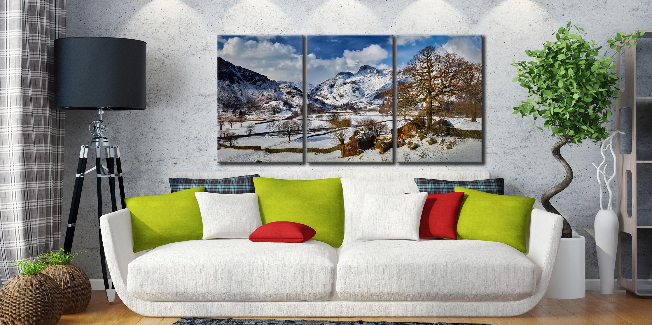 The Langdale Boulders in Winter - 3 Panel Canvas on Wall