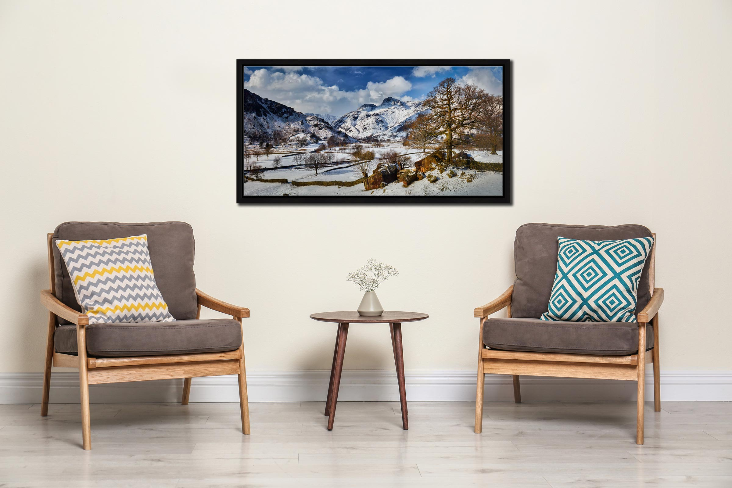 The Langdale Boulders in Winter - Black oak floater frame with acrylic glazing on Wall