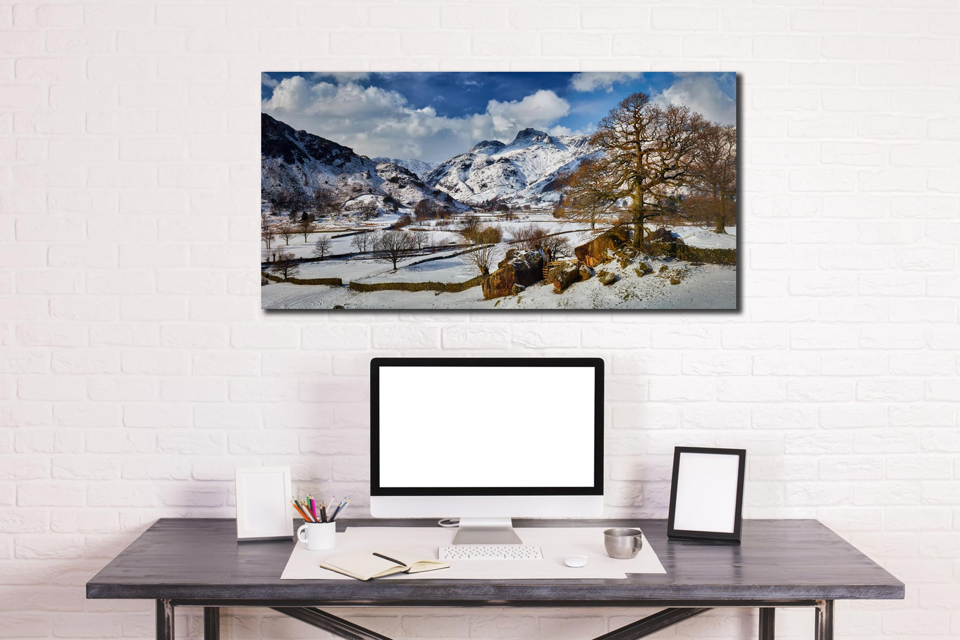 The Langdale Boulders in Winter - Print Aluminium Backing With Acrylic Glazing on Wall