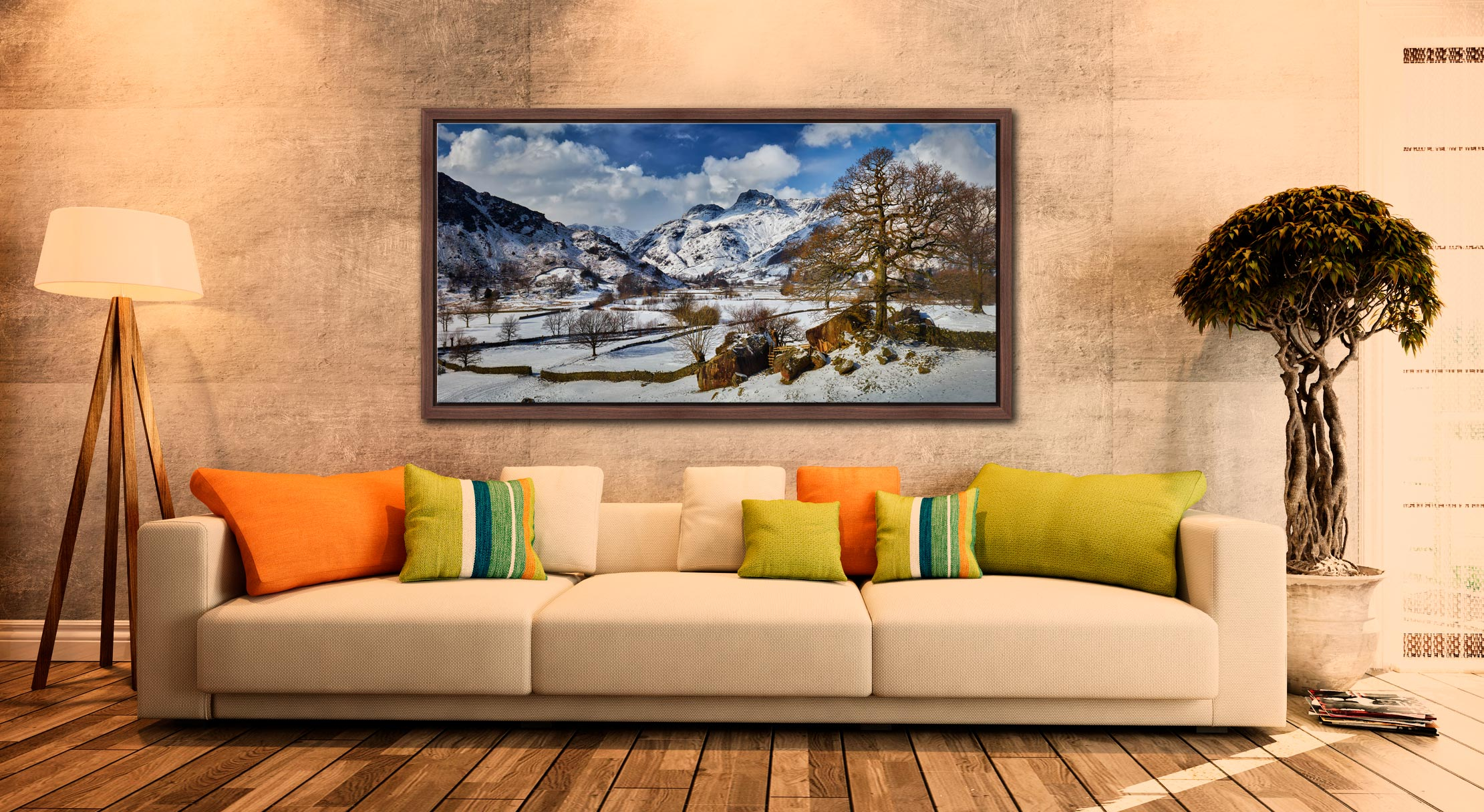 The Langdale Boulders in Winter - Walnut floater frame with acrylic glazing on Wall