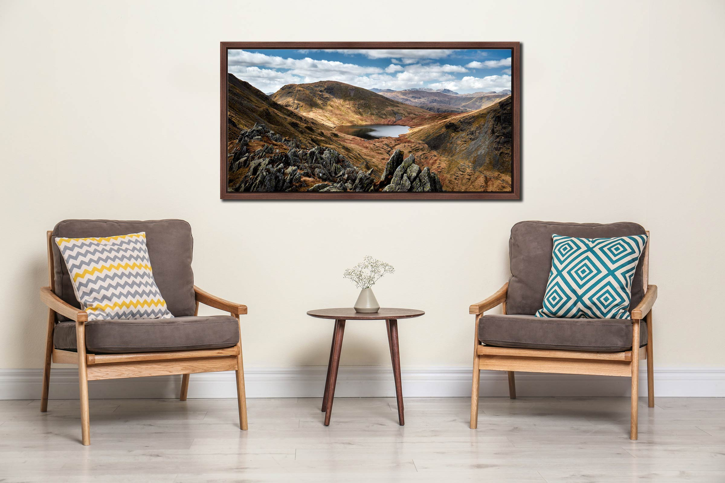 Grisedale Tarn Bowl - Walnut floater frame with acrylic glazing on Wall