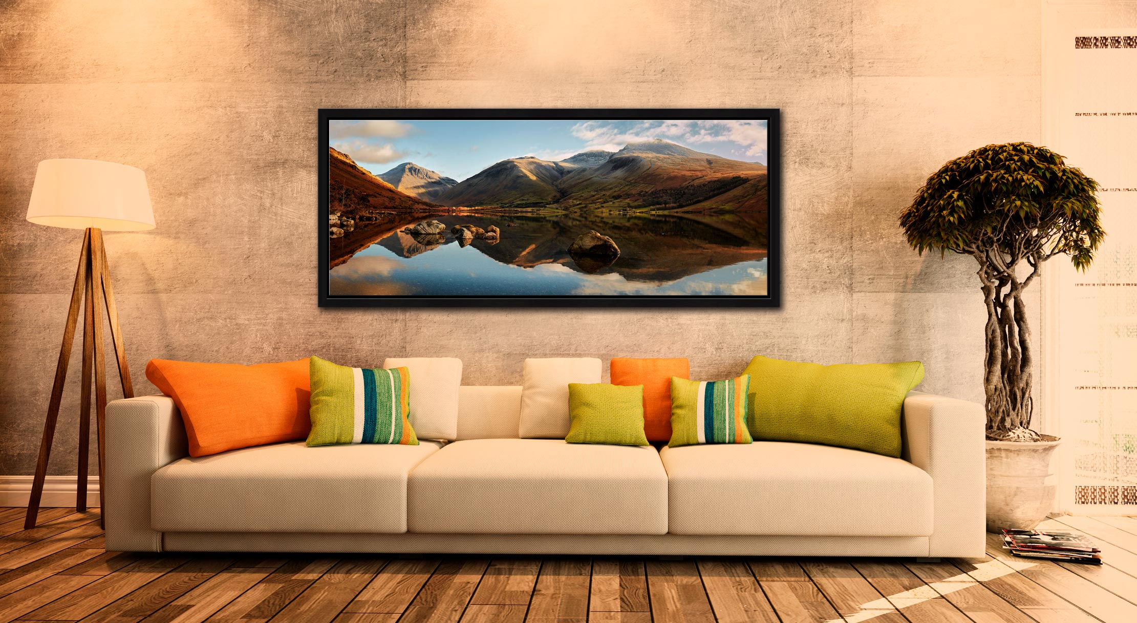 The first rays of light start to catch Wasdale head and Scafell Pike. Taken on a lovely calm winter's morning at Wast Water. Mountains left to right – Great Gable, Lingmell, Scafell Pike - Black oak floater frame with acrylic glazing on Wall