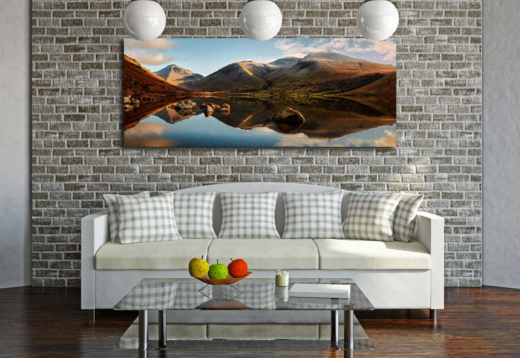 The first rays of light start to catch Wasdale head and Scafell Pike. Taken on a lovely calm winter's morning at Wast Water. Mountains left to right – Great Gable, Lingmell, Scafell Pike - Print Aluminium Backing With Acrylic Glazing on Wall