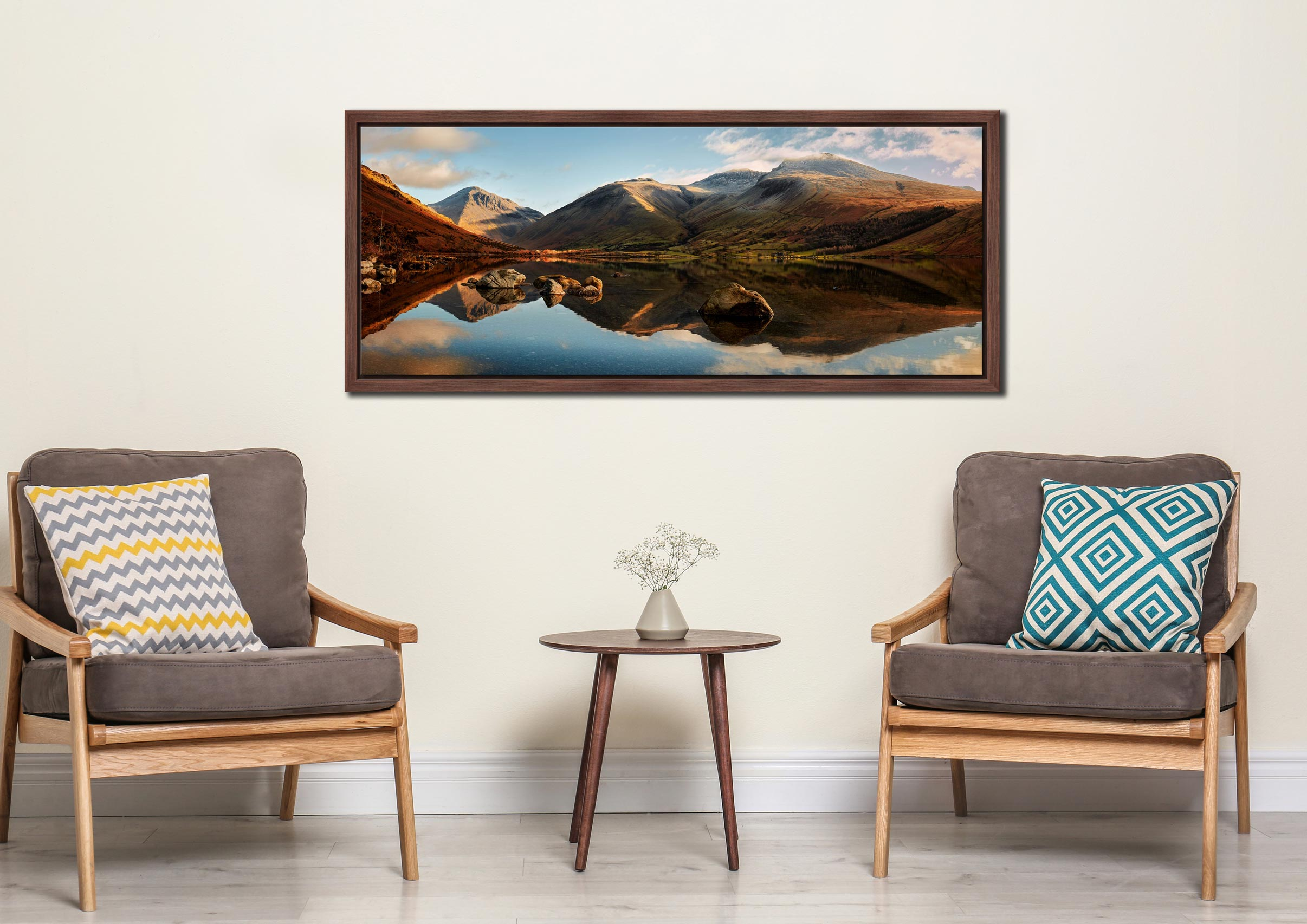The first rays of light start to catch Wasdale head and Scafell Pike. Taken on a lovely calm winter's morning at Wast Water. Mountains left to right – Great Gable, Lingmell, Scafell Pike - Walnut floater frame with acrylic glazing on Wall
