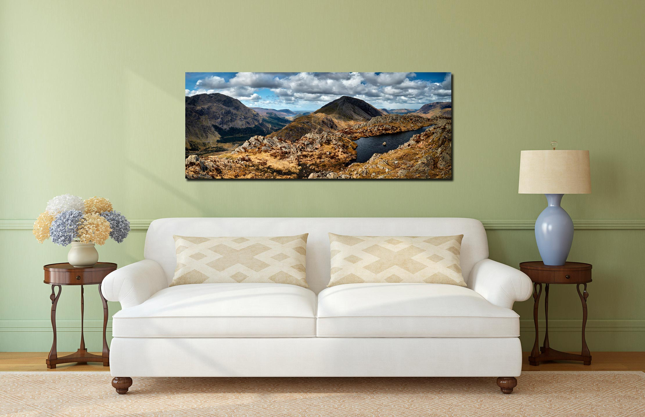 View from Hay Stacks near Scarth Gap. A lovely Spring afternoon with only the odd shower in the distance. Far left is Pillar, Ennerdale Valley, Seat, High Crag (center), Crummock Water then Grasmoor in the distance on the right - Print Aluminium Backing With Acrylic Glazing on Wall