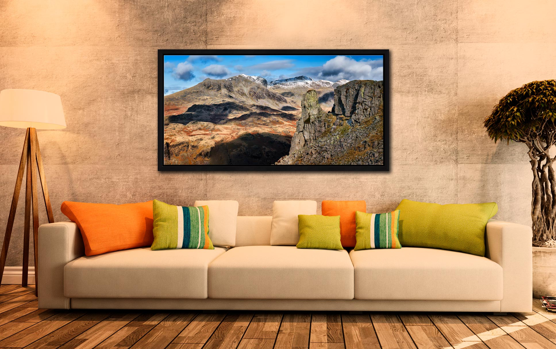 Eskdale Needle and Scafell Mountains - Black oak floater frame with acrylic glazing on Wall