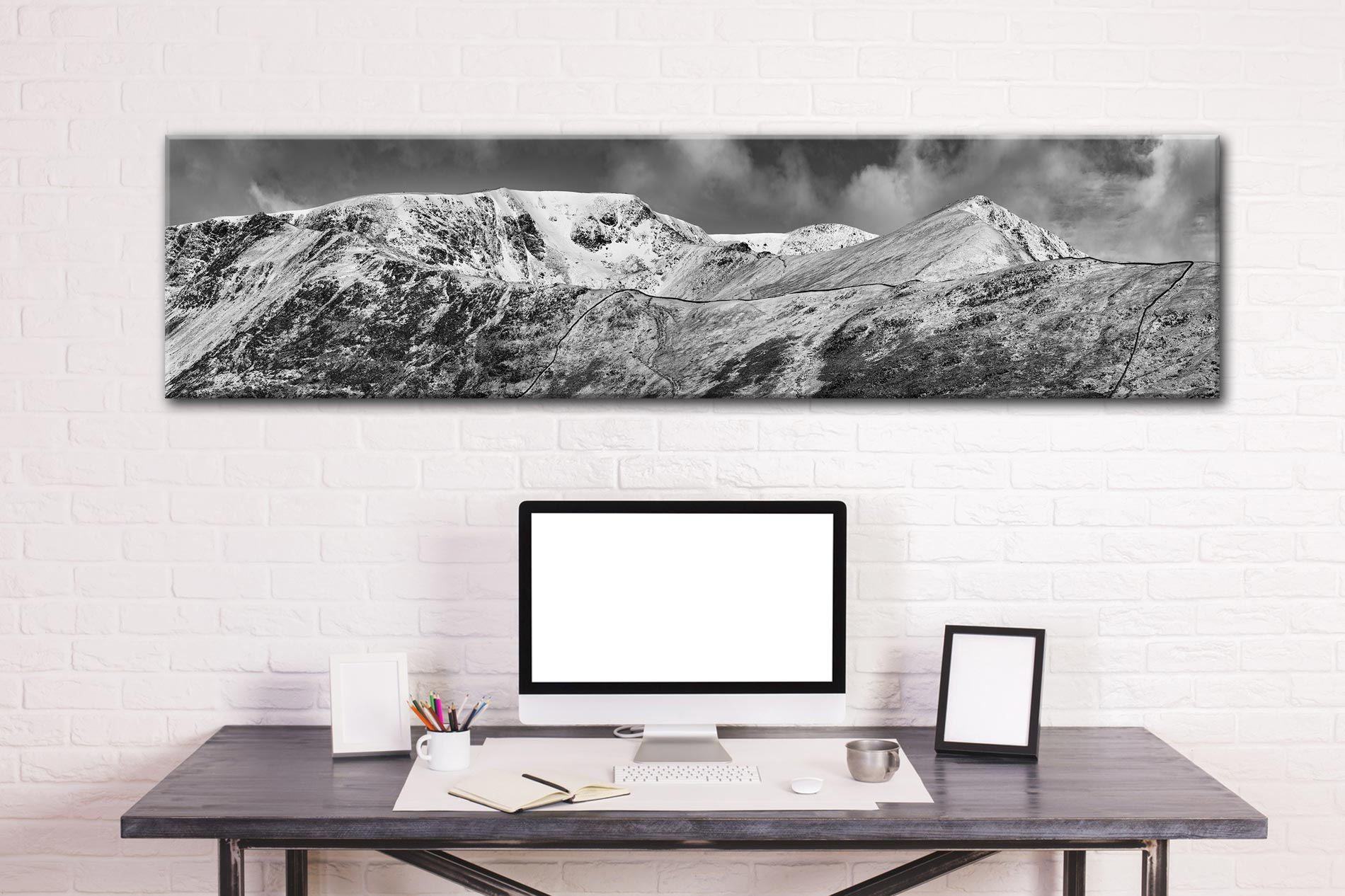 Snow Capped Helvellyn Mountains - Lake District Canvas on Wall