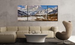 Snow on the Mountains of Langdale - 3 Panel Wide Mid Canvas on Wall