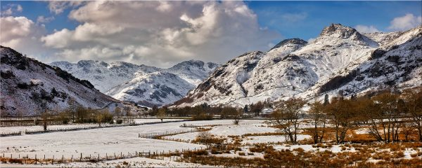 Snow on the Mountains of Langdale - Canvas Print