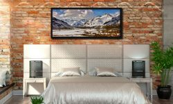 The mountains of the Langdale Valley under a coating of snow - Black oak floater frame with acrylic glazing on Wall