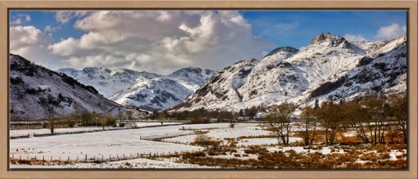 The mountains of the Langdale Valley under a coating of snow