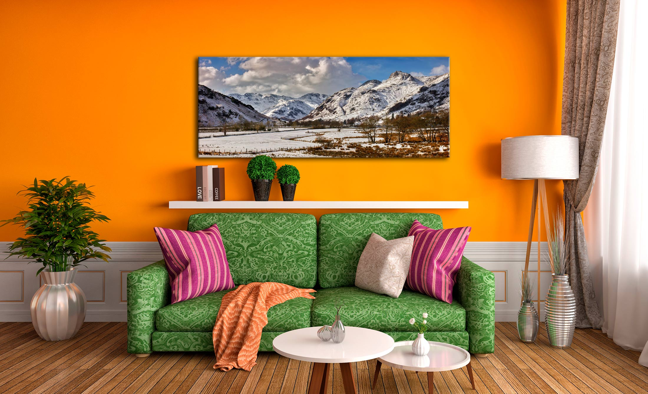 The mountains of the Langdale Valley under a coating of snow - Print Aluminium Backing With Acrylic Glazing on Wall