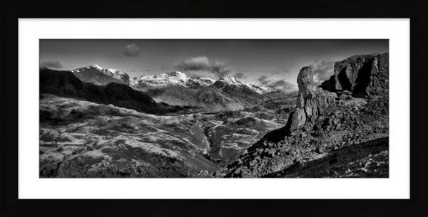 Eskdale Needle Winter Panorama - Black White Framed Print with Mount