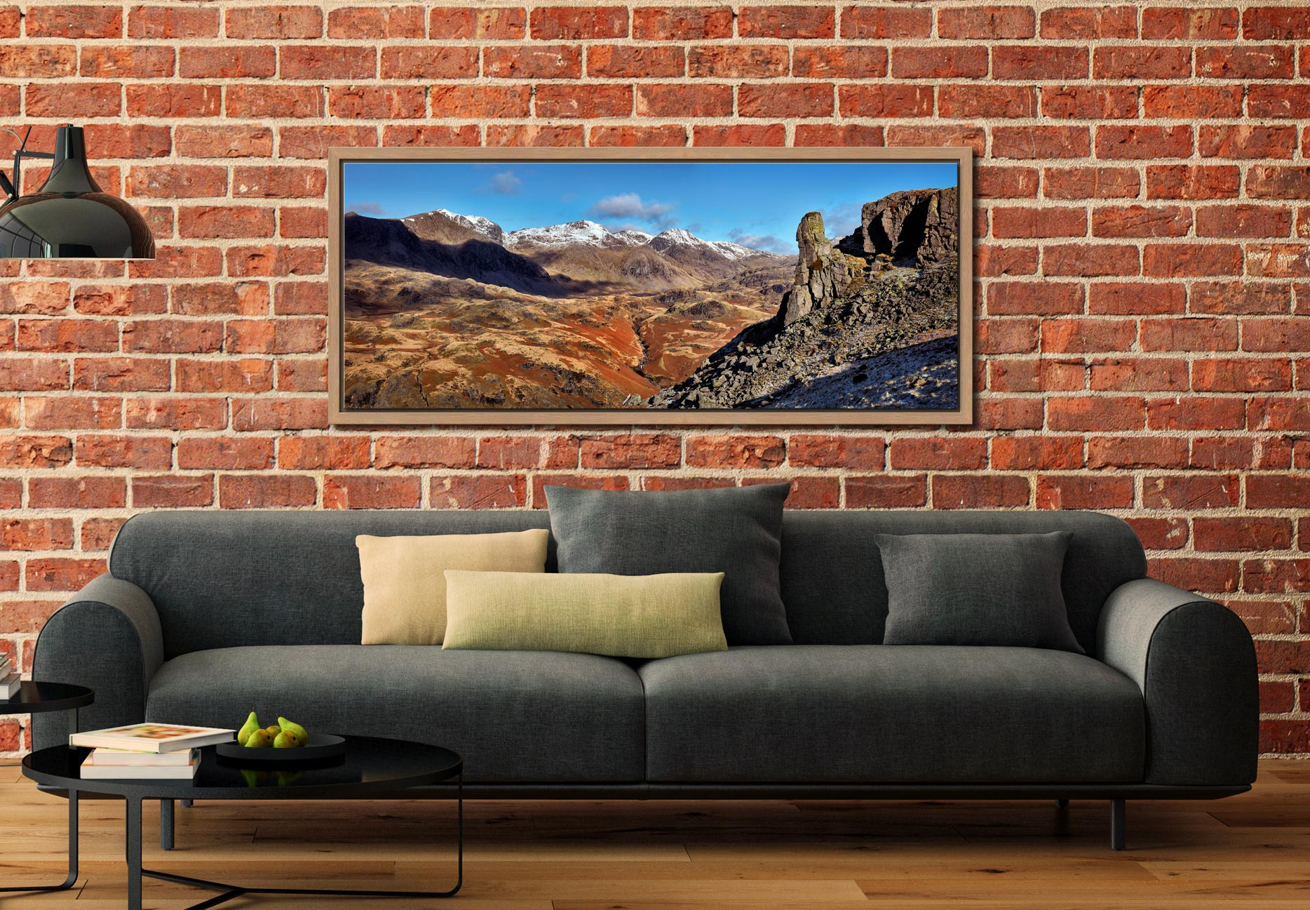 The rock needle in Eskdale, Cumbria. With the snow capped Scafell mountain range in the background - Oak floater frame with acrylic glazing on Wall