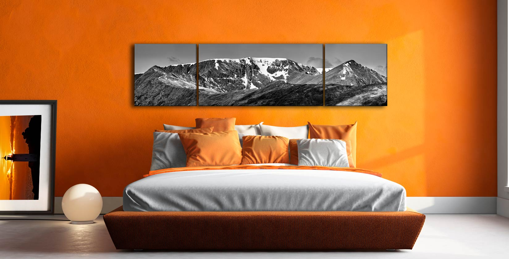 Helvellynn Snow Capped - 3 Panel Wide Centre Canvas on Wall