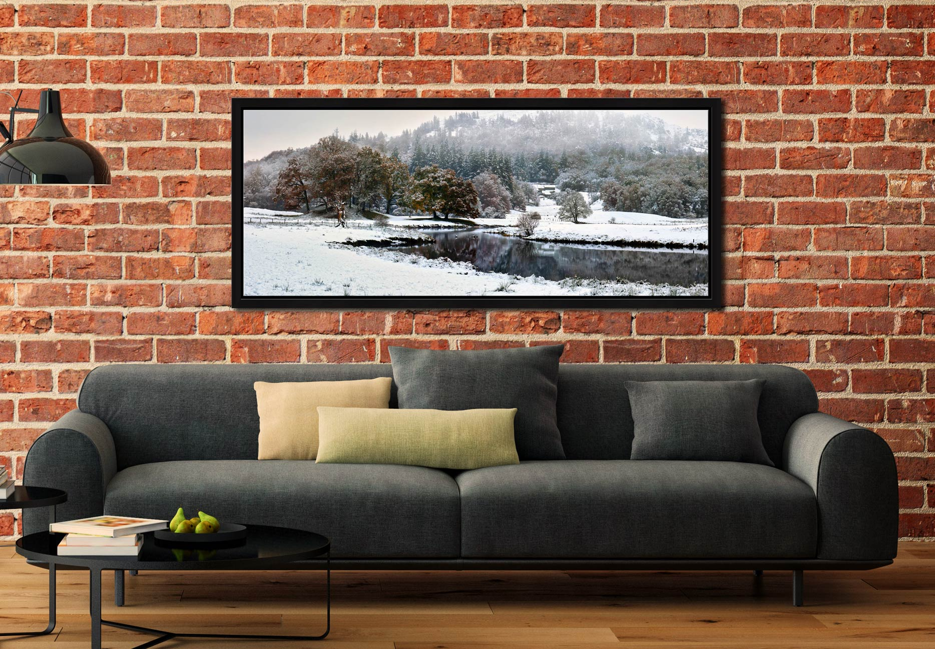 Winter at Birk Rigg Park near Elter Water - Black oak floater frame with acrylic glazing on Wall