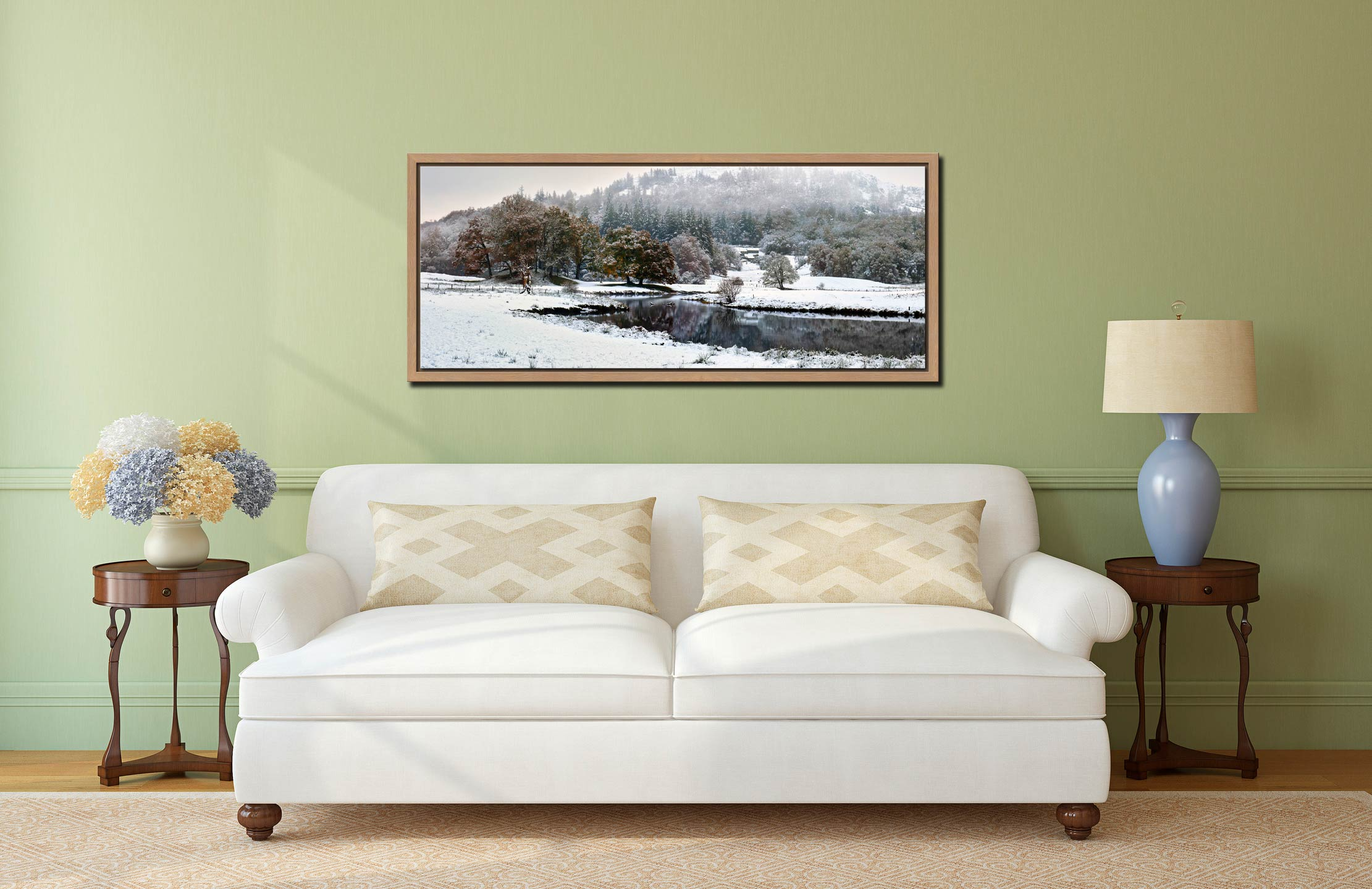 Winter at Birk Rigg Park near Elter Water - Oak floater frame with acrylic glazing on Wall