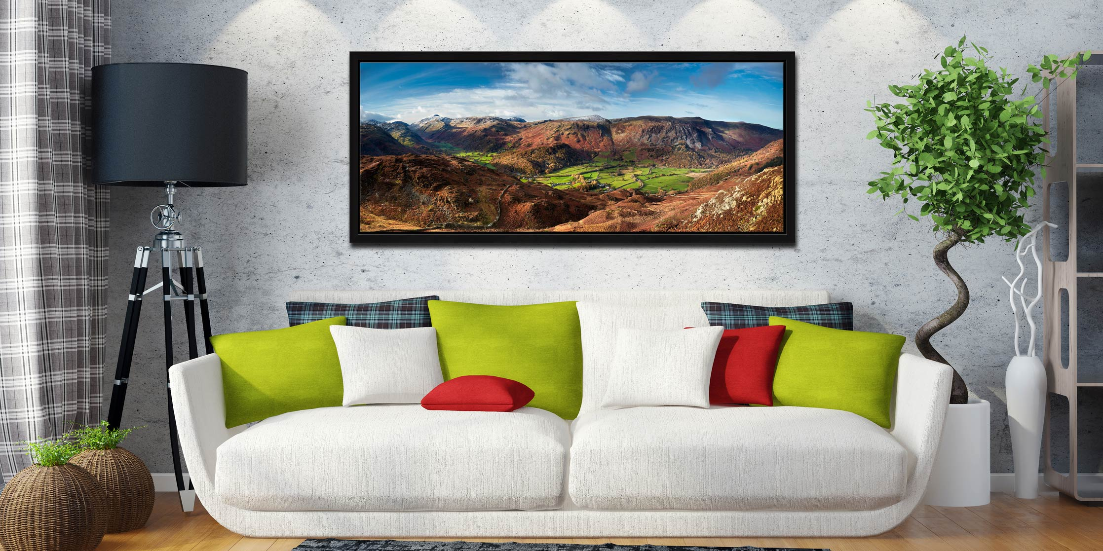 View over the lush green fields of the Borrowdale valley to the Honister Pass in Cumbria - Black oak floater frame with acrylic glazing on Wall