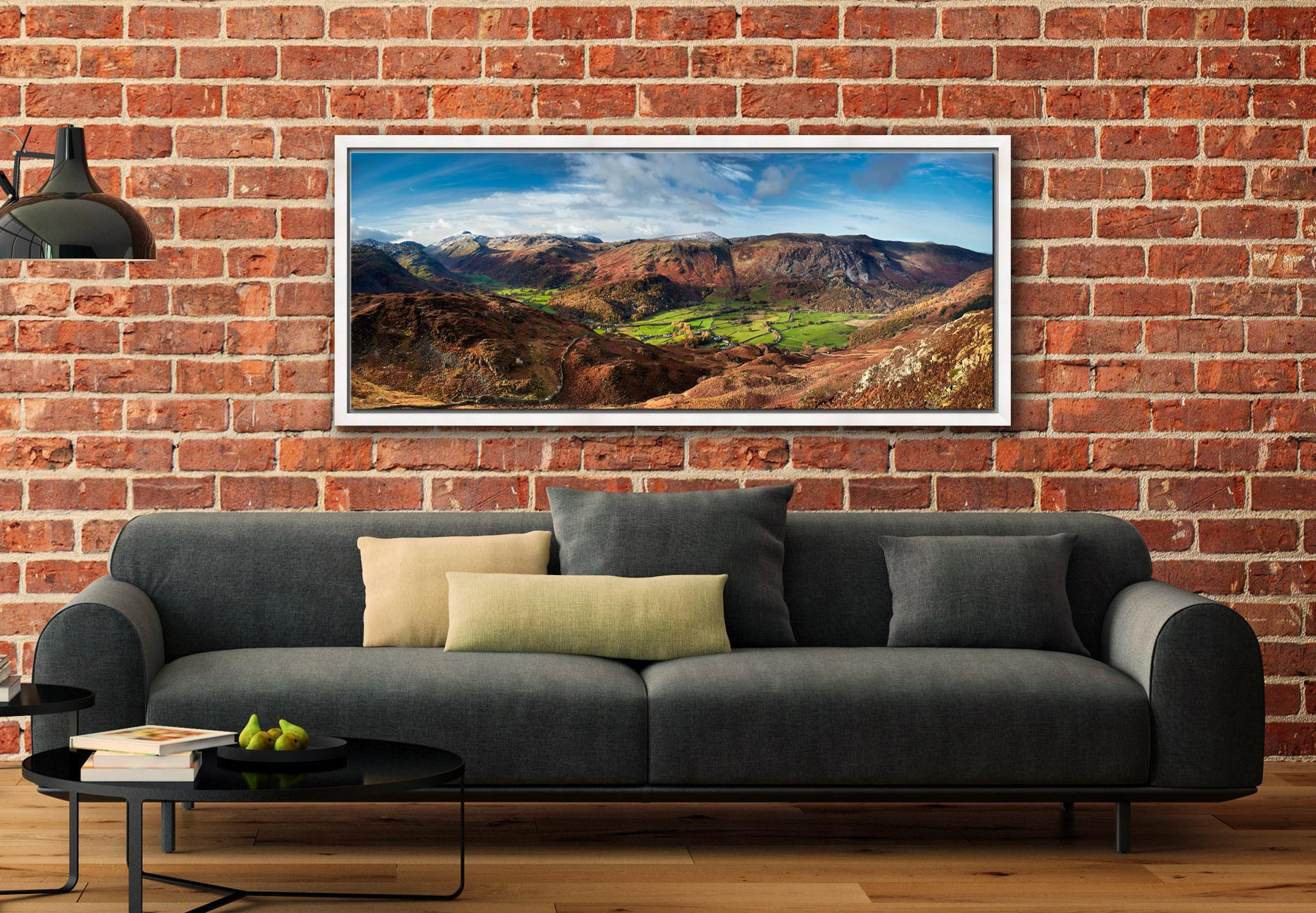View over the lush green fields of the Borrowdale valley to the Honister Pass in Cumbria - White Maple floater frame with acrylic glazing on Wall