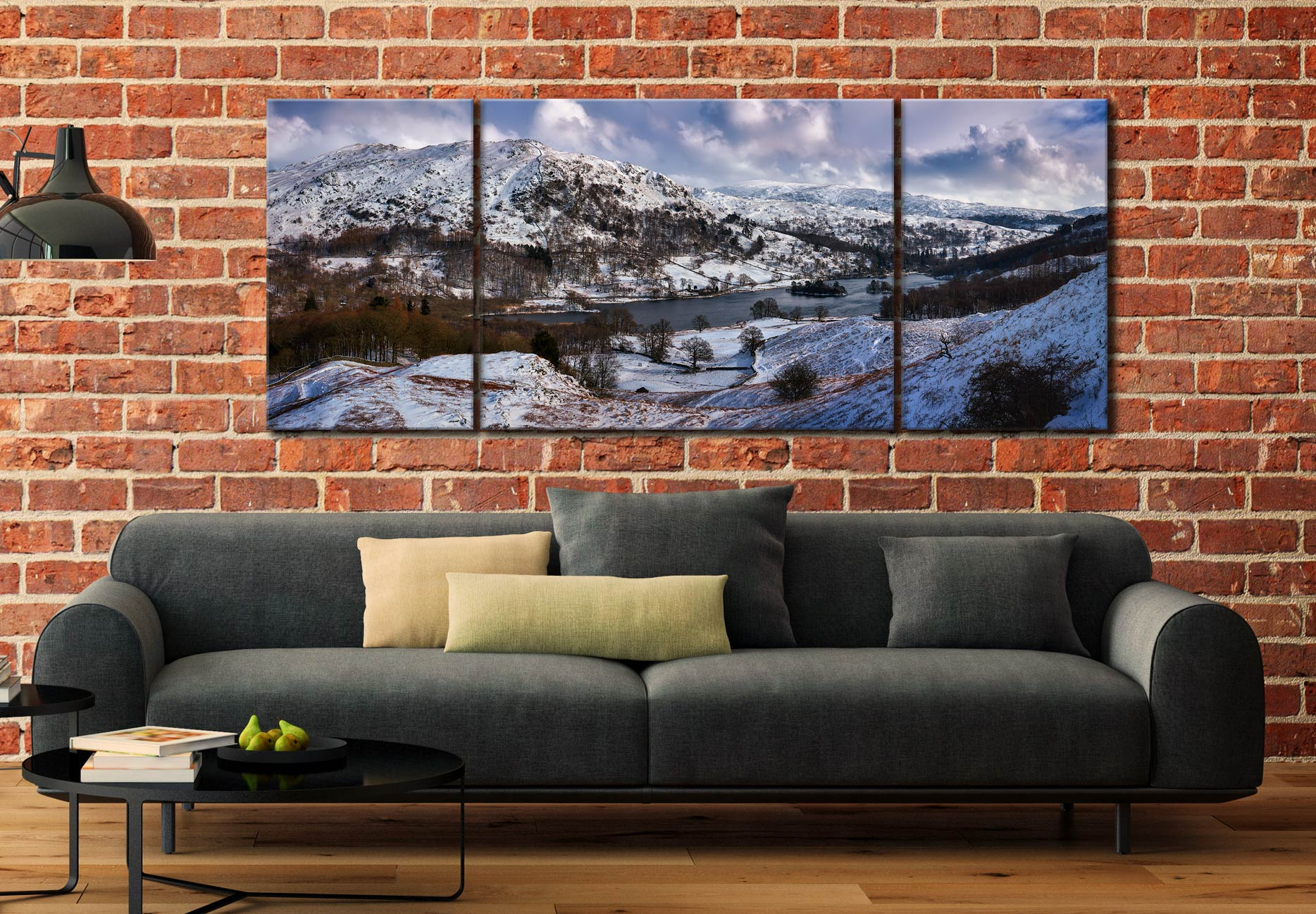 Rydal Water Winter - 3 Panel Wide Mid Canvas on Wall