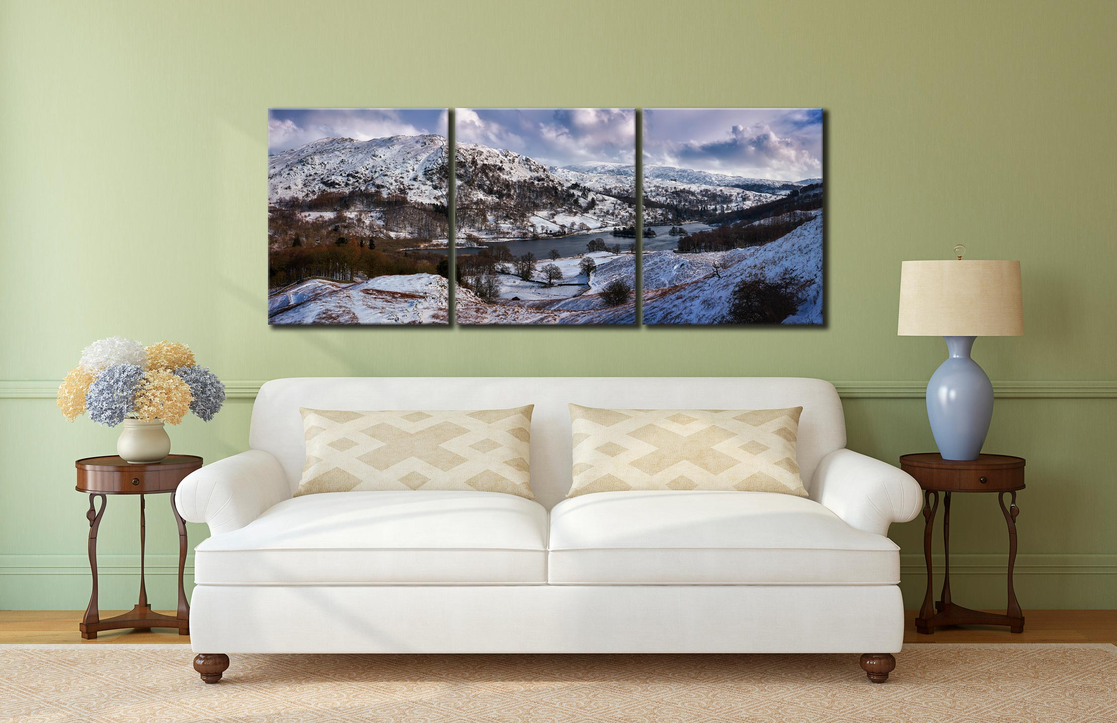 Rydal Water Winter - 3 Panel Canvas on Wall