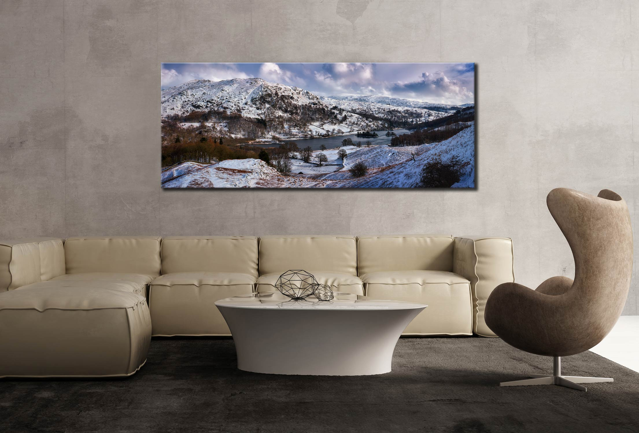 Rydal Water Winter - Canvas Print on Wall