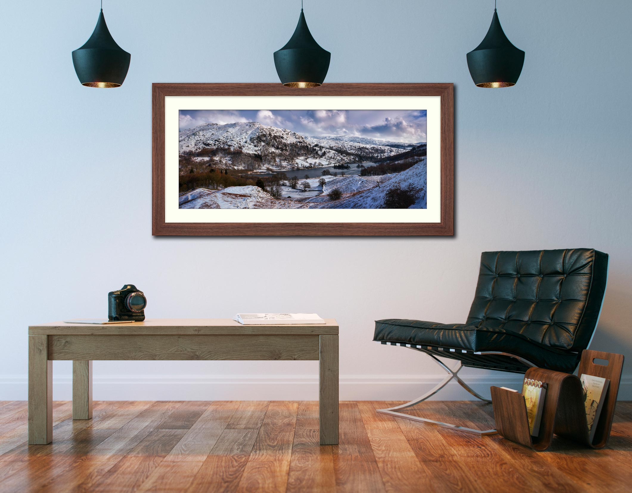 Rydal Water Winter - Framed Print with Mount on Wall