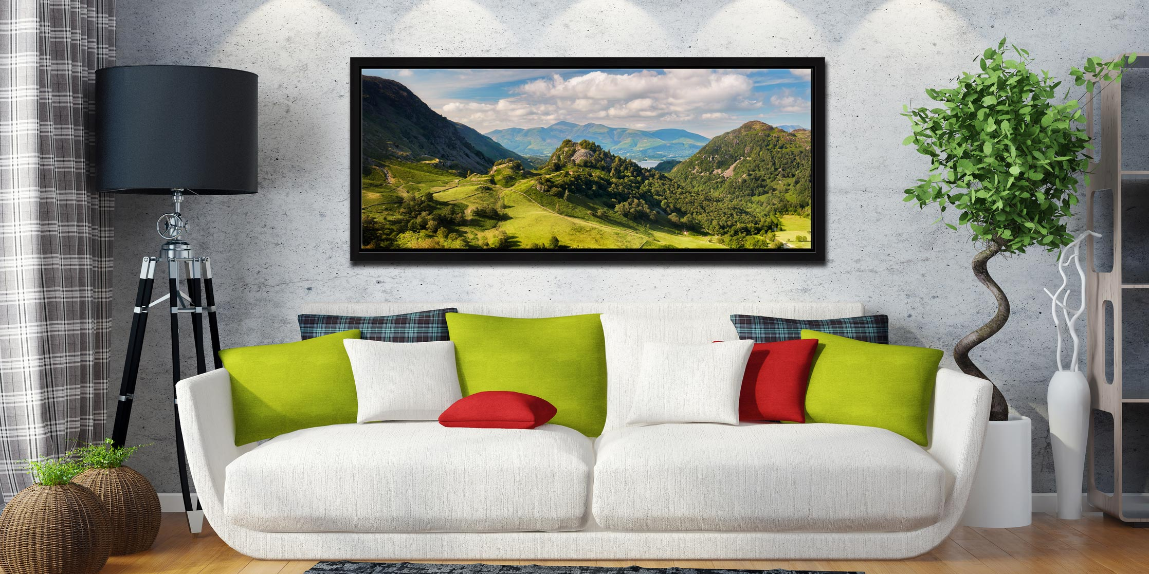 Borrowdale in summer, a lovely place to be. View of Castle Crag and Kings How with Skiddaw in the distance - Black oak floater frame with acrylic glazing on Wall
