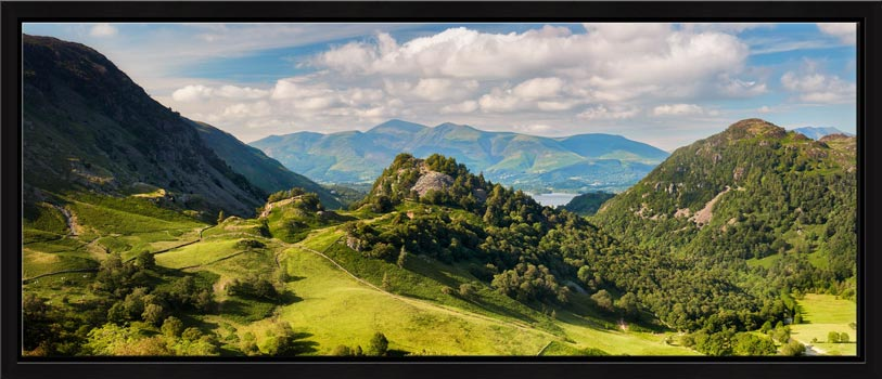 Borrowdale in summer, a lovely place to be. View of Castle Crag and Kings How with Skiddaw in the distance
