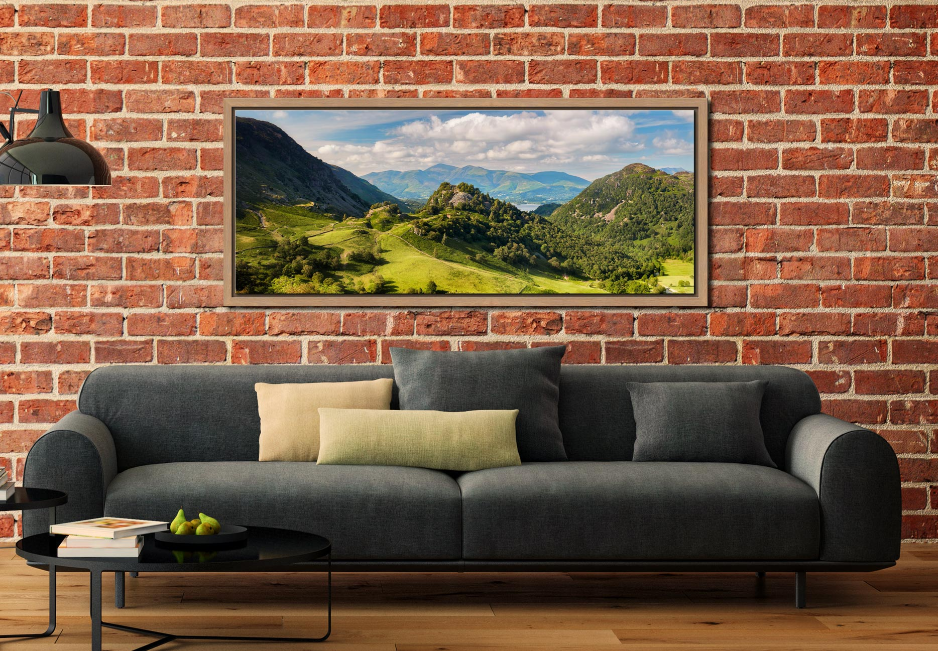Borrowdale in summer, a lovely place to be. View of Castle Crag and Kings How with Skiddaw in the distance - Oak floater frame with acrylic glazing on Wall