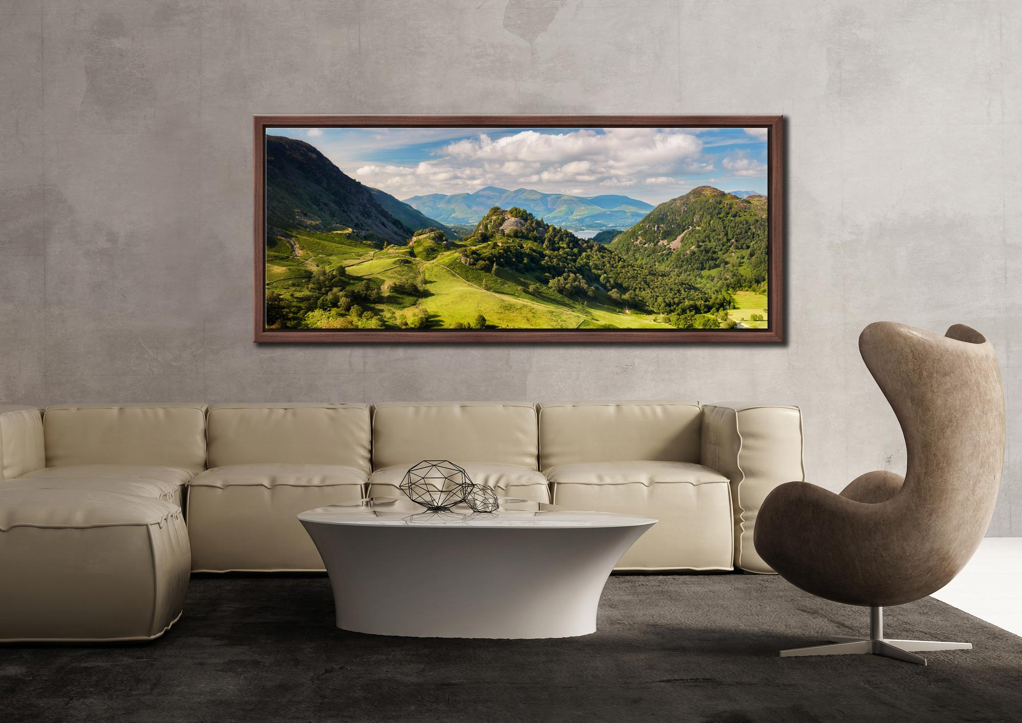 Borrowdale in summer, a lovely place to be. View of Castle Crag and Kings How with Skiddaw in the distance - Walnut floater frame with acrylic glazing on Wall