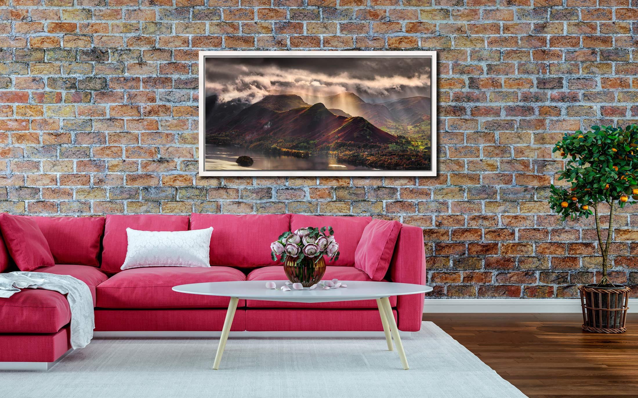 Sunshine and Showers on Cat Bells - White Maple floater frame with acrylic glazing on Wall