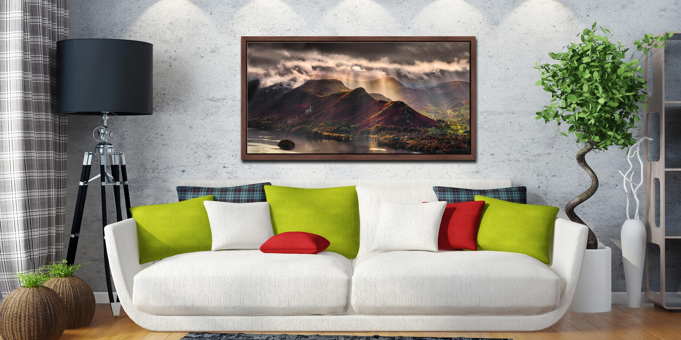 Sunshine and Showers on Cat Bells - Walnut floater frame with acrylic glazing on Wall