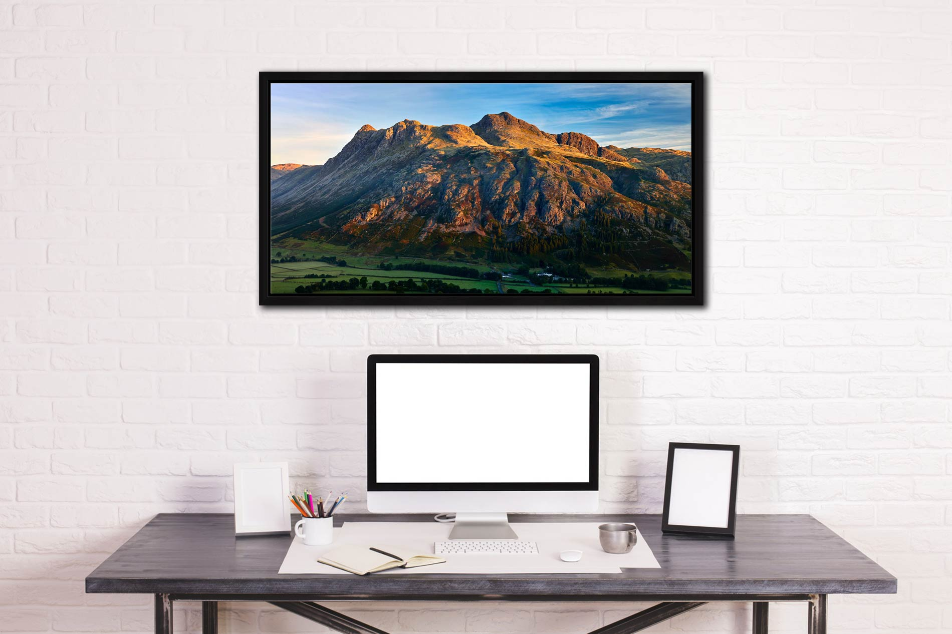 The Langdale Pikes in the Morning Light - Black oak floater frame with acrylic glazing on Wall