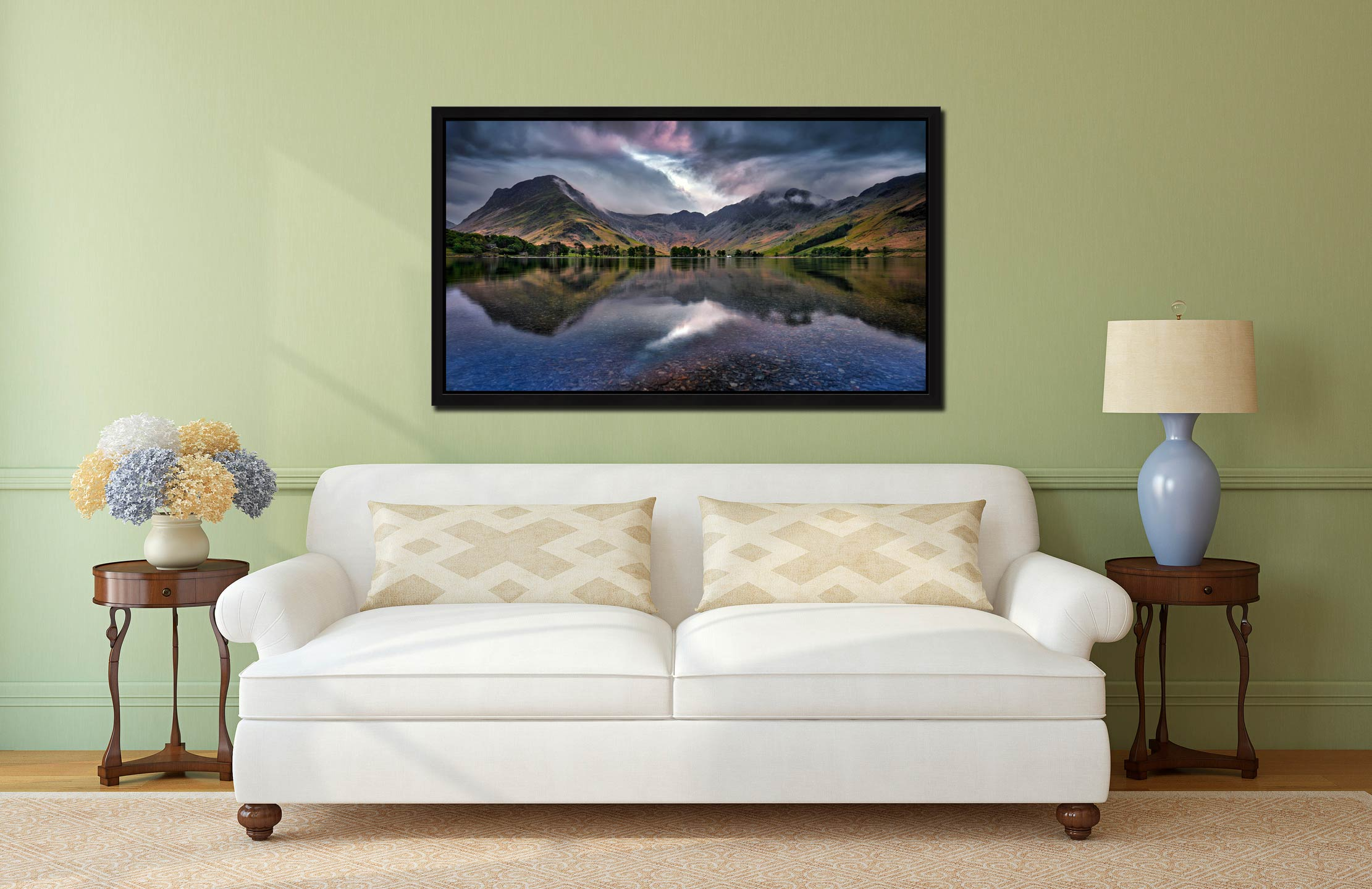 Buttermere Sky Rift - Black oak floater frame with acrylic glazing on Wall