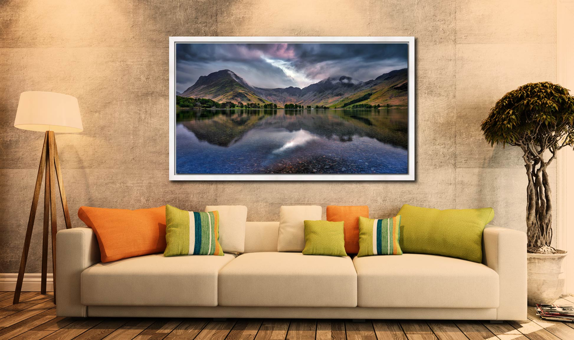 Buttermere Sky Rift - White Maple floater frame with acrylic glazing on Wall