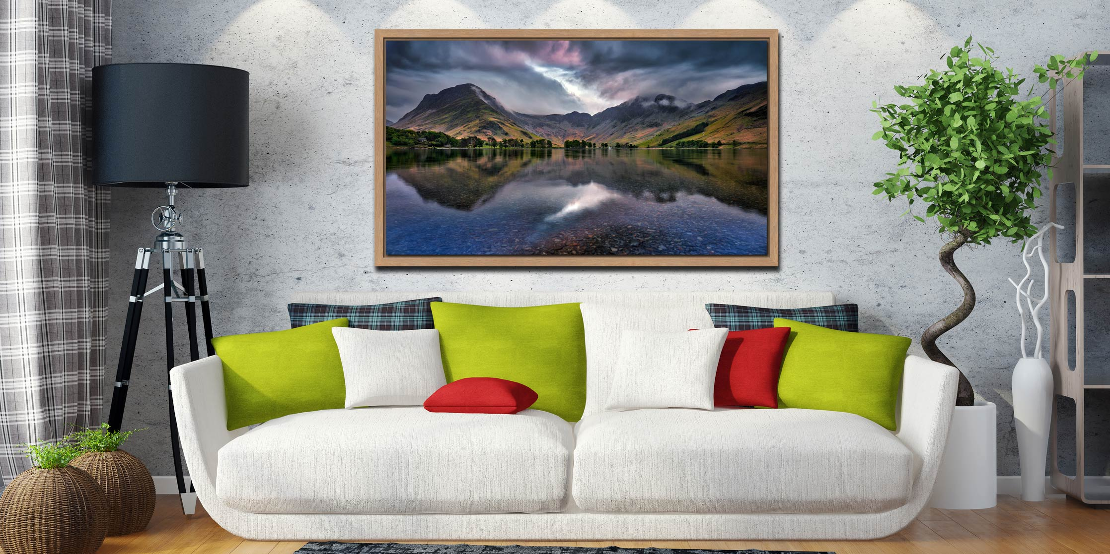 Buttermere Sky Rift - Oak floater frame with acrylic glazing on Wall