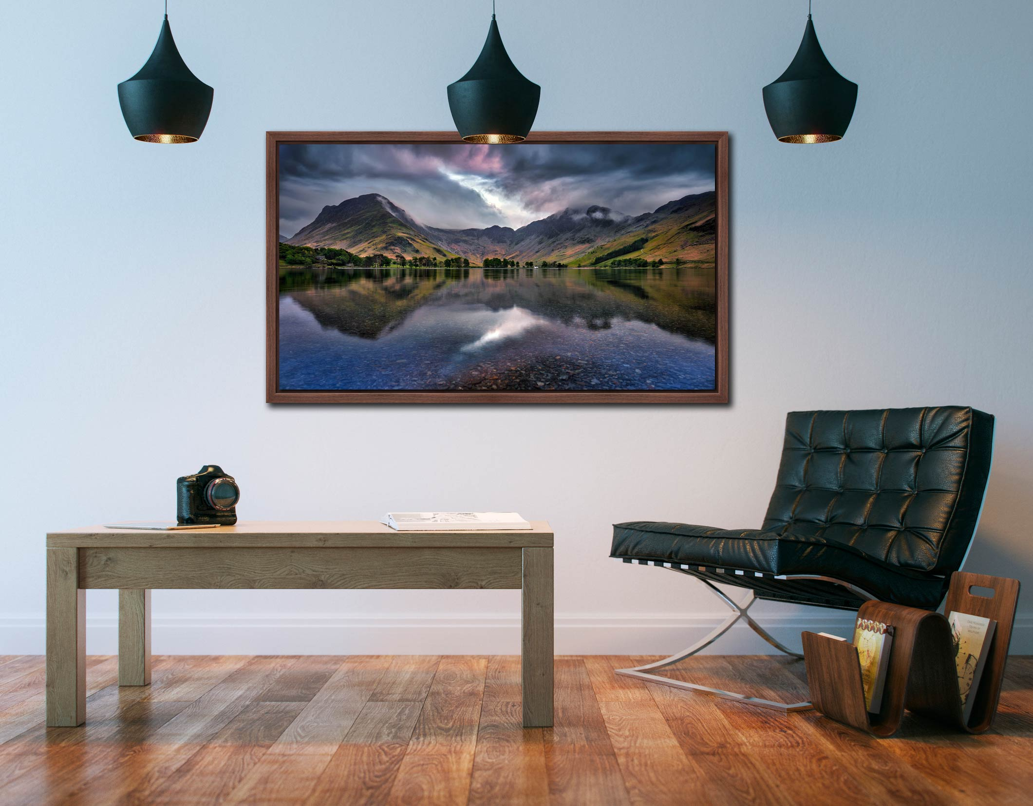 Buttermere Sky Rift - Walnut floater frame with acrylic glazing on Wall