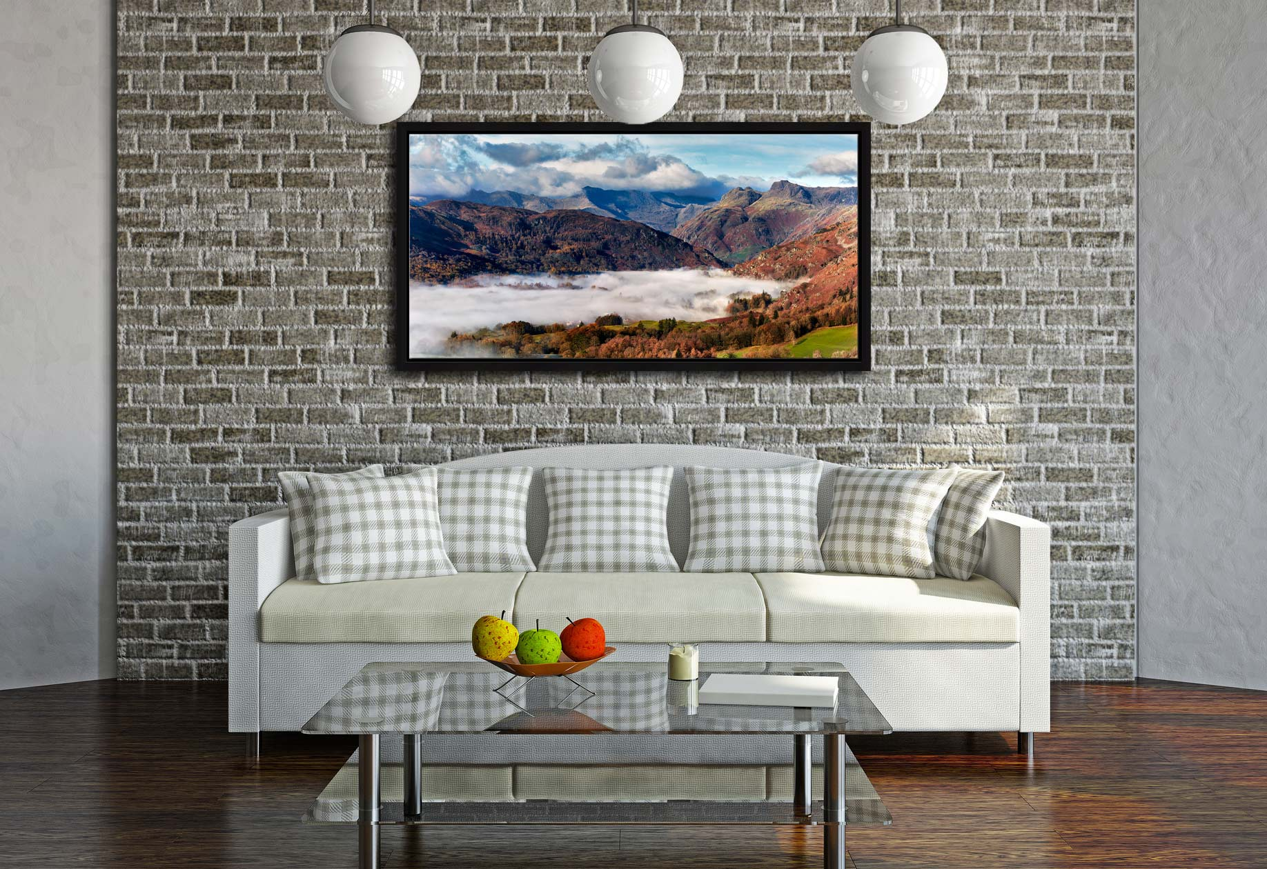 Great Langdale Mountains and Mist - Black oak floater frame with acrylic glazing on Wall