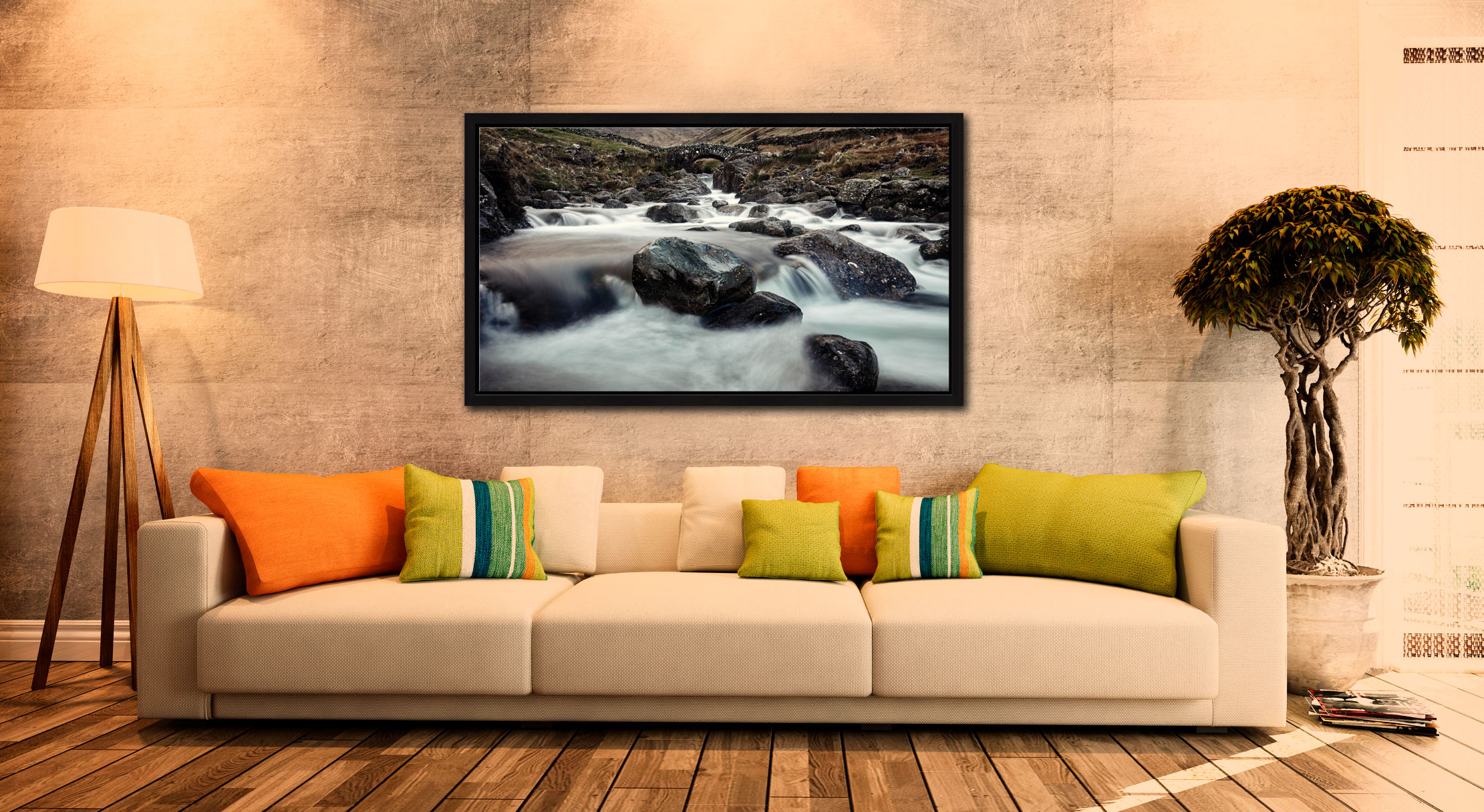 Grains Gill and Stockley Bridge - Black oak floater frame with acrylic glazing on Wall