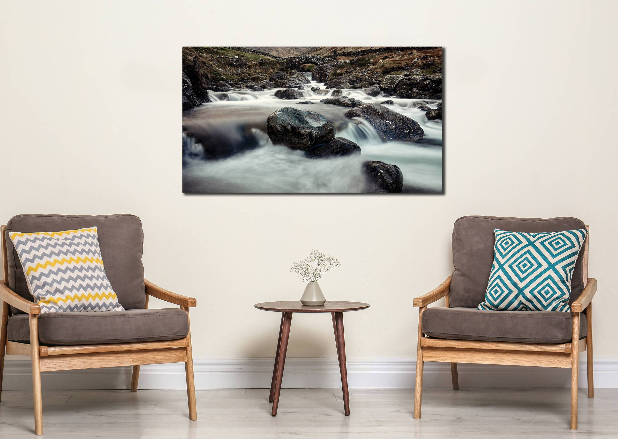 Grains Gill and Stockley Bridge - Print Aluminium Backing With Acrylic Glazing on Wall