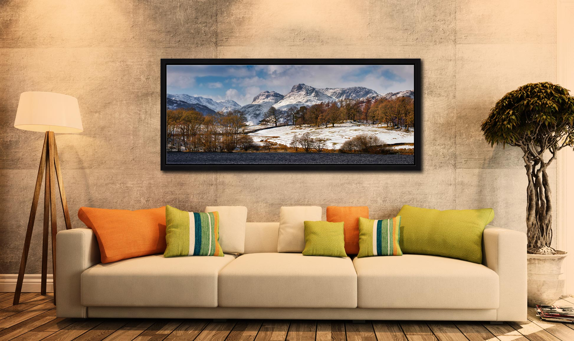 The Langdale Pikes in winter viewed from Loughrigg Tarn in Langdale - Black oak floater frame with acrylic glazing on Wall