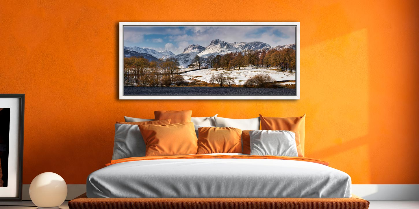 The Langdale Pikes in winter viewed from Loughrigg Tarn in Langdale - White Maple floater frame with acrylic glazing on Wall