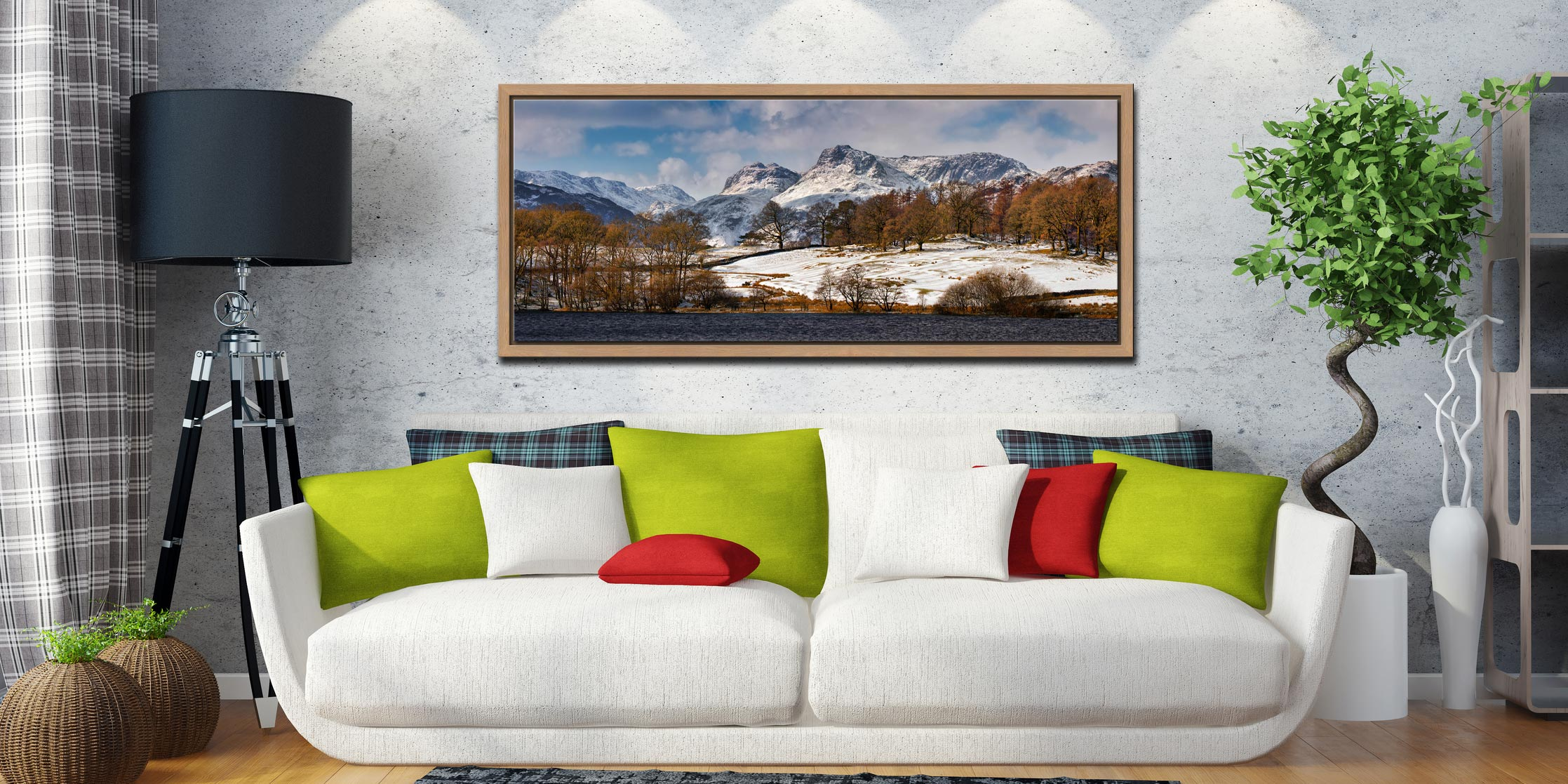 The Langdale Pikes in winter viewed from Loughrigg Tarn in Langdale - Oak floater frame with acrylic glazing on Wall