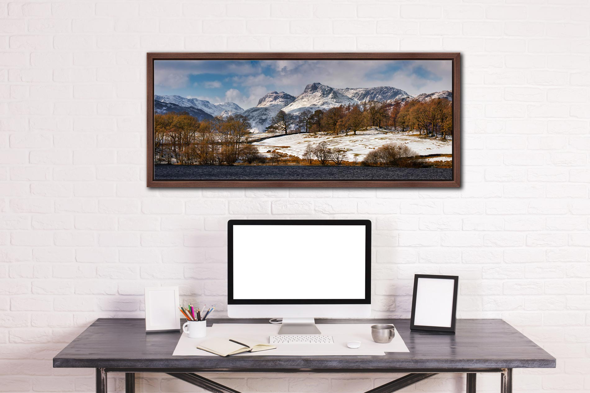 The Langdale Pikes in winter viewed from Loughrigg Tarn in Langdale - Walnut floater frame with acrylic glazing on Wall