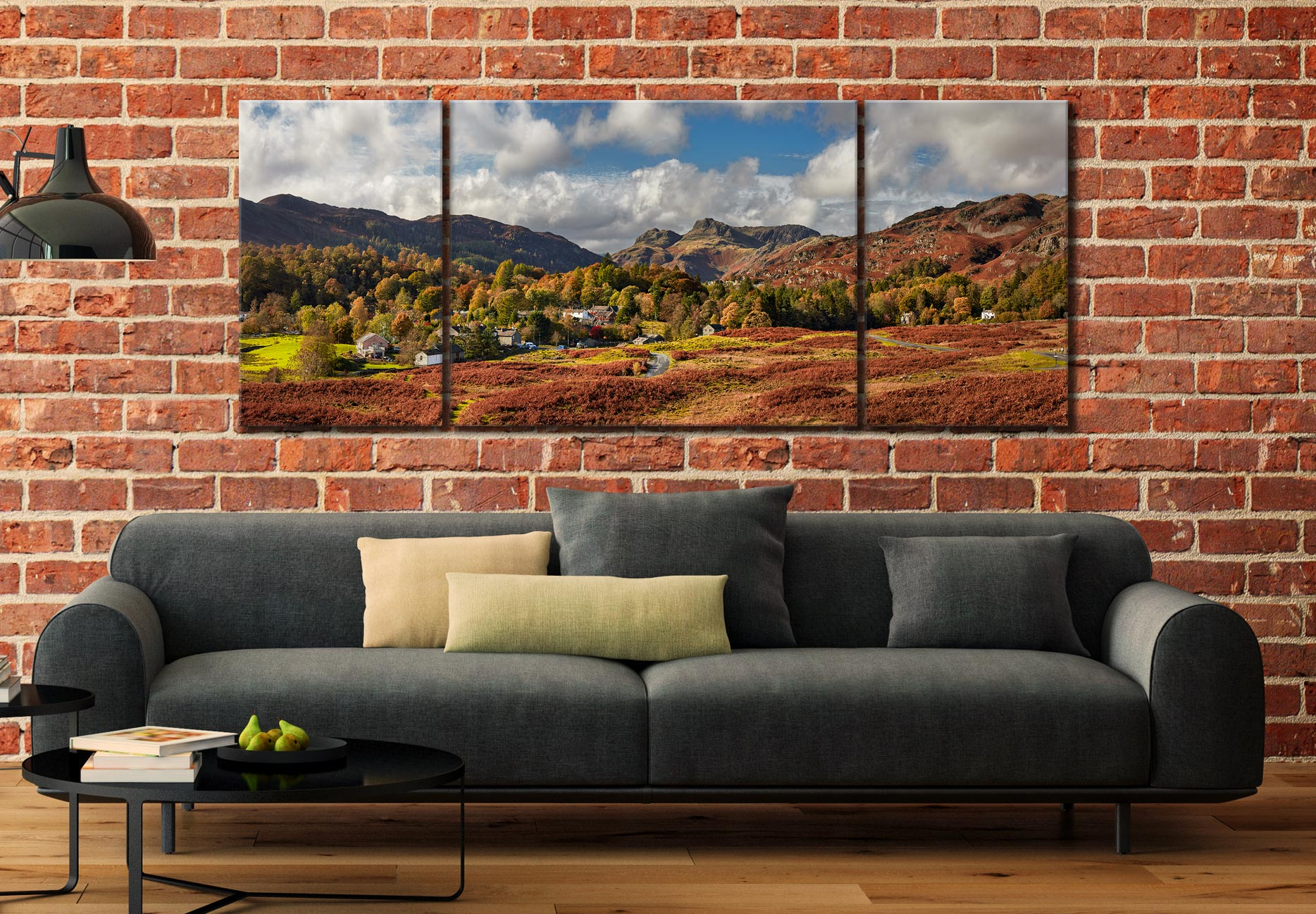Elterwater Village - 3 Panel Wide Mid Canvas on Wall